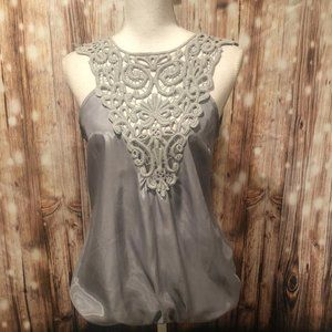 Silver Crochet Top with Elasticated Hem MEDIUM